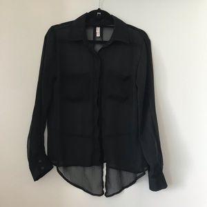 Target Sheer Black Portofino Blouse